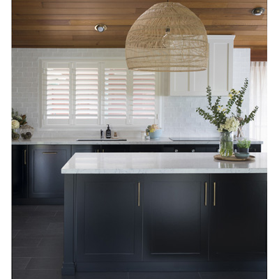 large pendants black cabinets caesarstone benches small